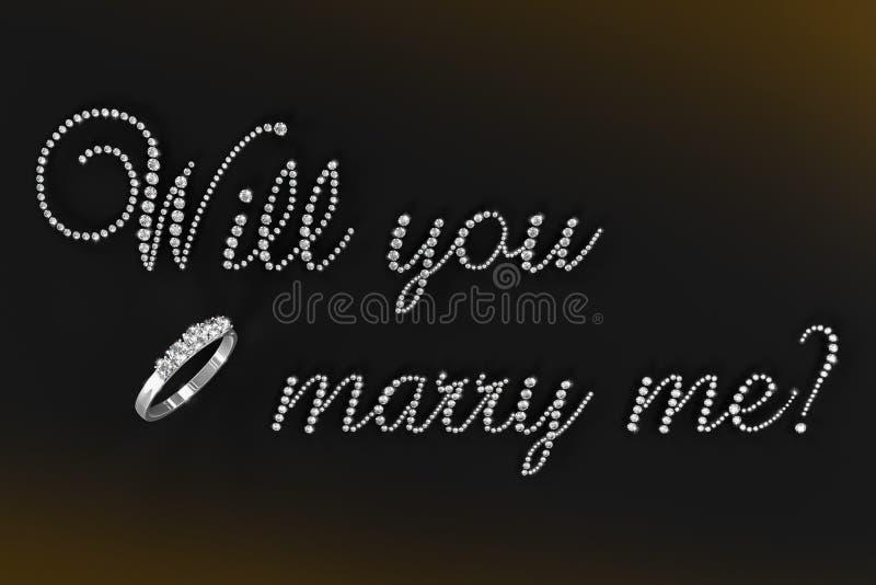 ¿ejemplo rendido 3D usted me casará? stock de ilustración