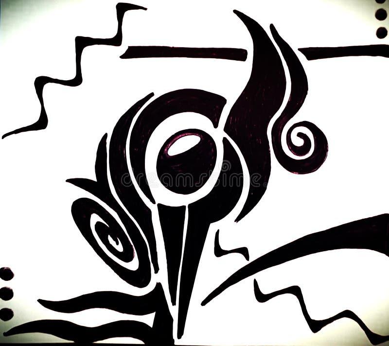 ¿Es un pájaro? diseño exhausto inspirado de la mano abstracta foto de archivo