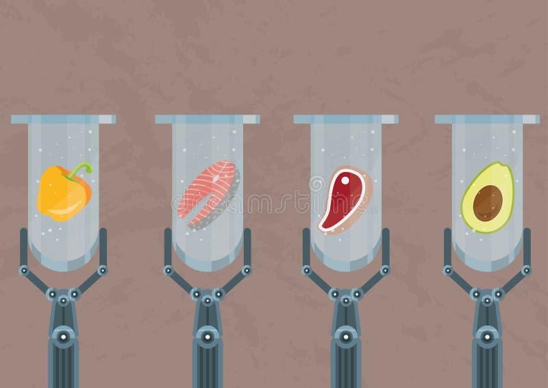 ¿los productos Laboratorio-crecidos o los productos sintéticos - están el futuro de la agricultura y la producción de comida para ilustración del vector