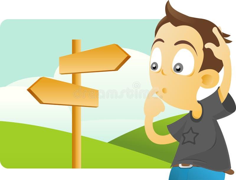 ¿Qué dirección debe ser tomada? ilustración del vector