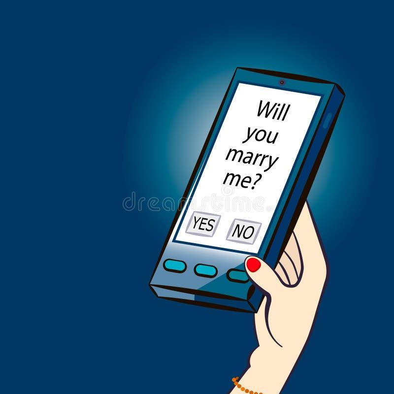 ¿Usted me casará? SMS Ilustración del vector stock de ilustración