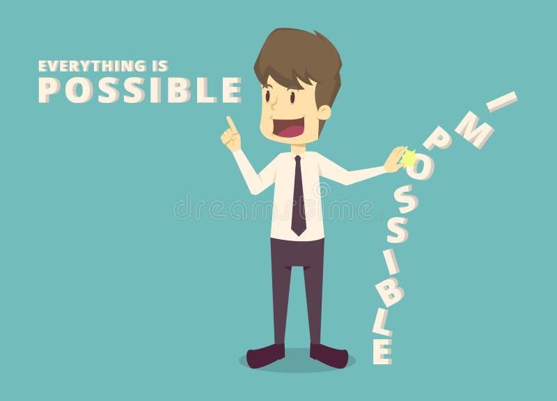 ฺฺBusinessman change impossible to possible.cartoon of business,employee success is the concept of the man characters royalty free illustration