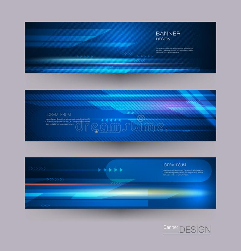 Abstract banners set with image of speed movement pattern and motion blur over dark blue color. Science, futuristic, energy technology concept. Vector stock illustration