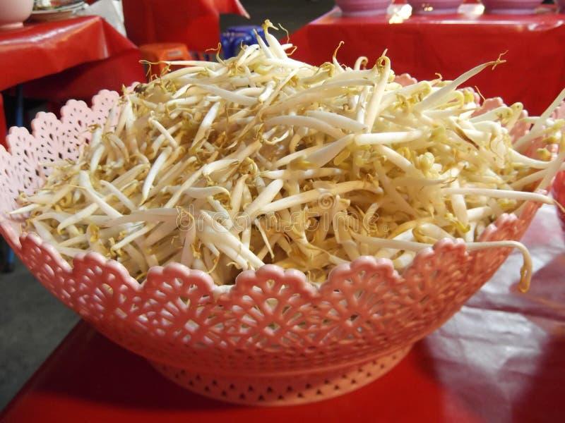 ฺBean sprout for mix with Thai vermicelli eaten, Buddha festival, Samutprakarn ,Thailand. Bean sprout for mix with Thai vermicelli eaten, steet food royalty free stock photography