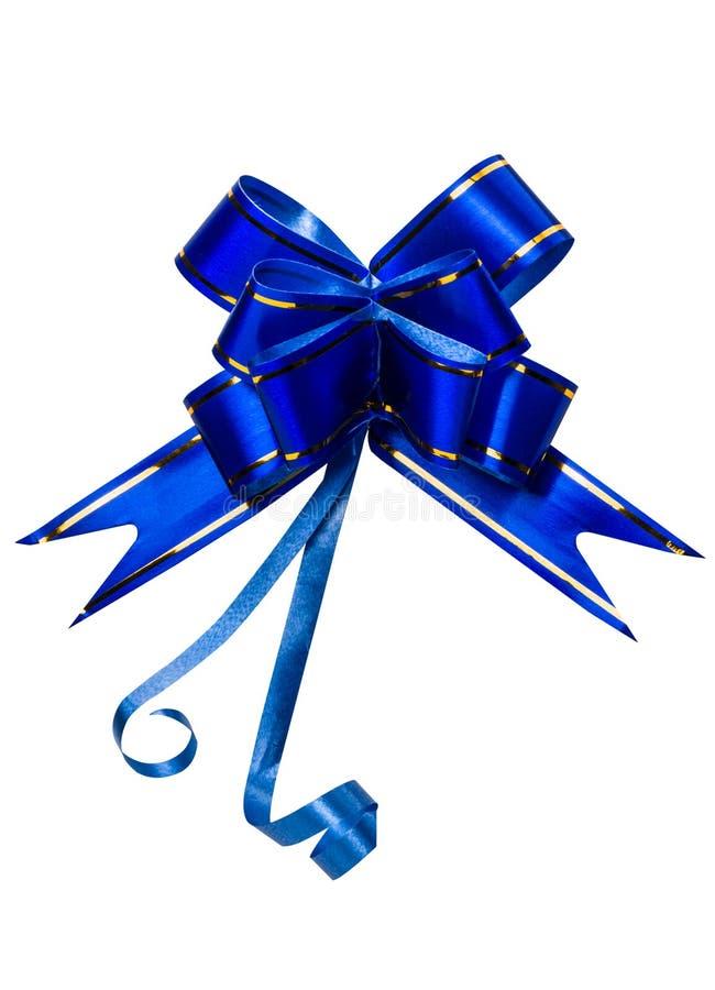 ฺBlue τόξο που απομονώνεται στο άσπρο υπόβαθρο με το διάστημα αντιγράφων Κορδέλλα για το δώρο ή την παρούσα έννοια Καλή χρονιά  απεικόνιση αποθεμάτων