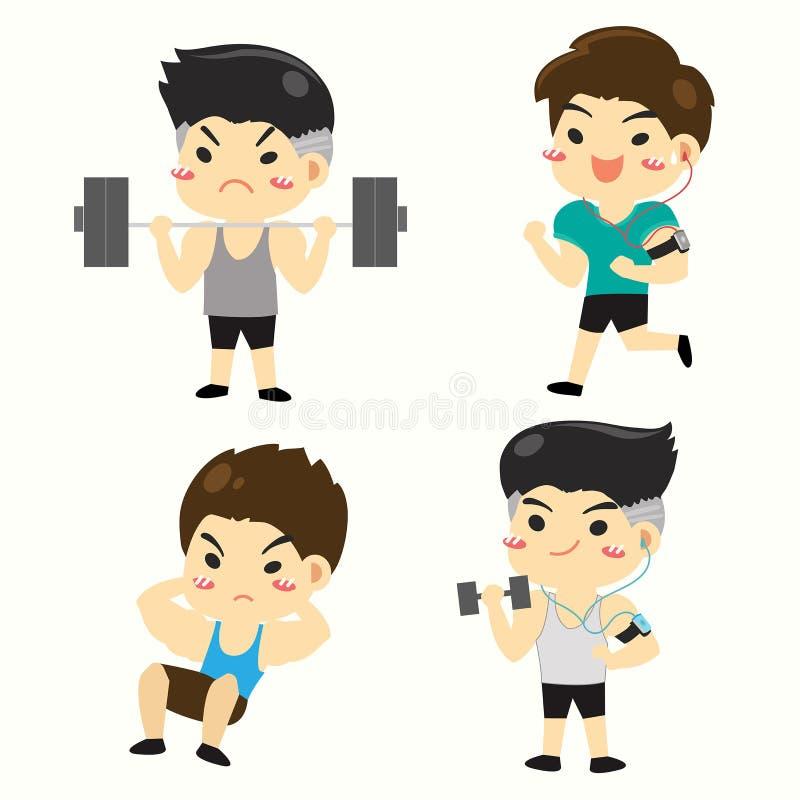 ฺBoy W różnorodnych typach sprawność fizyczna ilustracja wektor