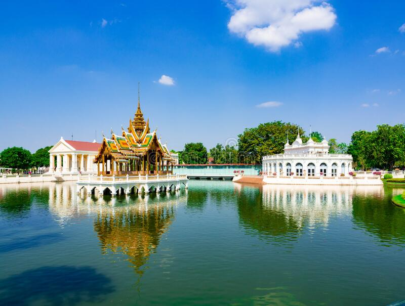 ฺBuilding Mid water Pattern Style Thai architecture and Europe architecture at,Bang Pa In Royal Palace Ayutthaya Thailand. Building Mid water Pattern Style royalty free stock photography
