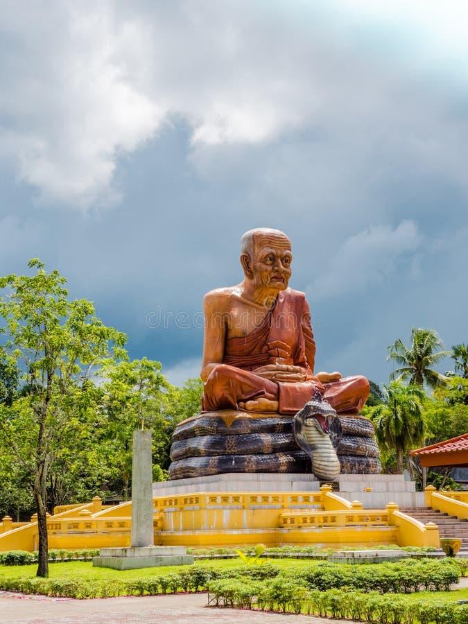ชthe high yellow pagoda in Bang Tong temple royalty free stock images