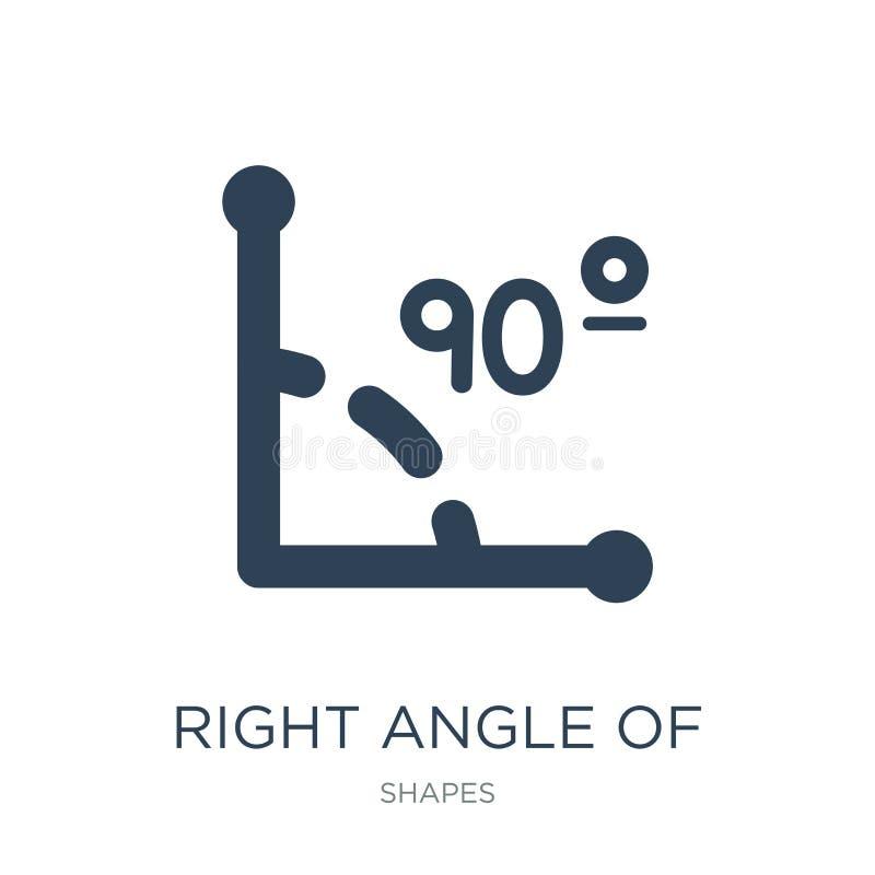 à angle droit de 90 degrés d'icône dans le style à la mode de conception à angle droit de 90 degrés d'icône d'isolement sur le fo illustration libre de droits