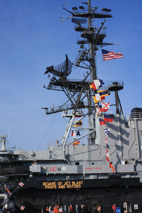 À bord du musée intermédiaire d'USS à San Diego photo stock