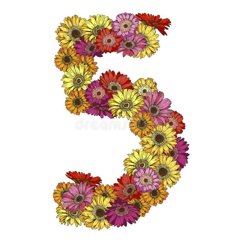 À cinq chiffres fait de fleurs multicolores de marguerites Élément floral d'alphabet coloré fait à partir des fleurs Illustration illustration stock