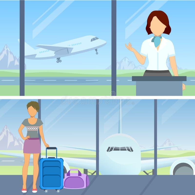 À l'aéroport illustration stock