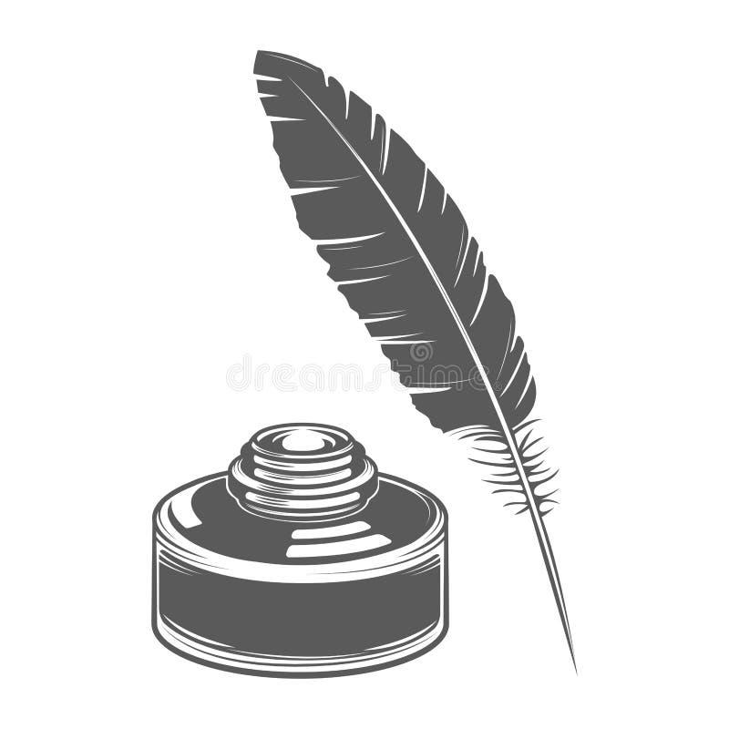À l'encre de plume d'isolement sur le fond blanc Lettre calligraphique Schéma monochromatique Rétro conception illustration libre de droits