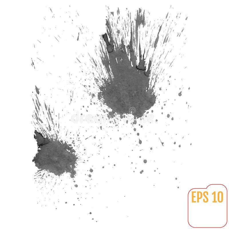 À l'encre noire éclabousse dans le style d'aquarelle illustration de vecteur