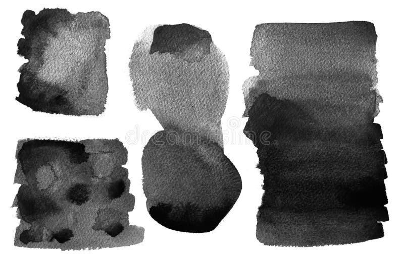 À l'encre noire artistique de fond de lavage d'aquarelle d'isolement illustration libre de droits