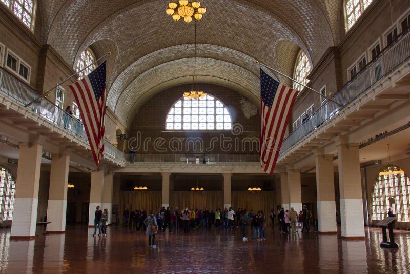À l'intérieur d'Ellis Island Hall photographie stock libre de droits