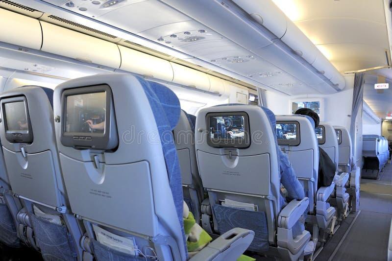 À l'intérieur d'un avion photographie stock