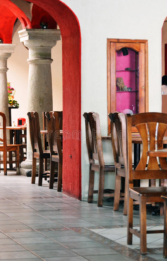 À l'intérieur d'un restaurant mexicain photo stock