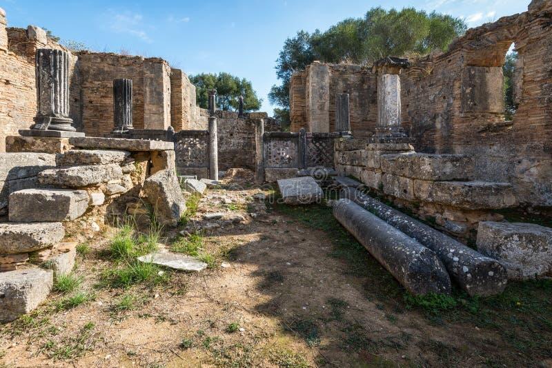À l'intérieur de l'atelier de Phidias, Olympia image libre de droits