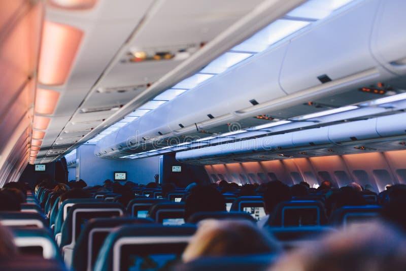 À l'intérieur de l'avion images stock