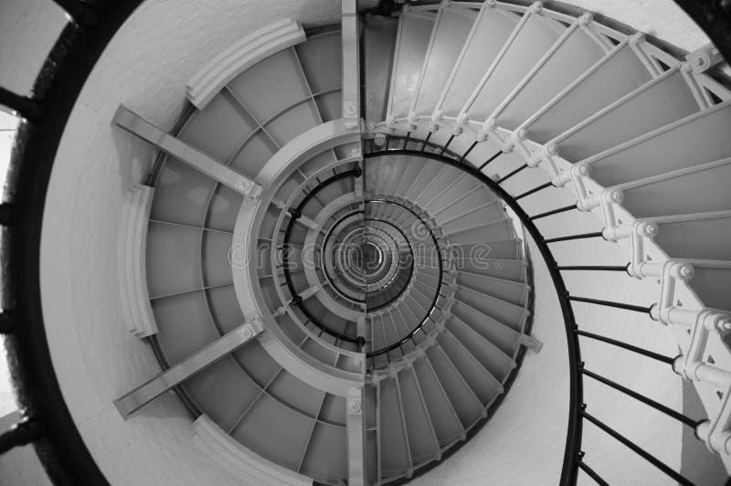 à l'intérieur de l'escalier spiralé de phare photo stock