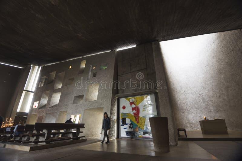 À l'intérieur de la chapelle de Notre Dame du Haut image stock