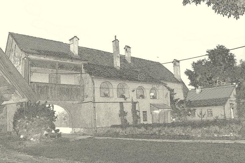 À l'intérieur de la cour de l'église enrichie médiévale Cristian, la Transylvanie photo stock