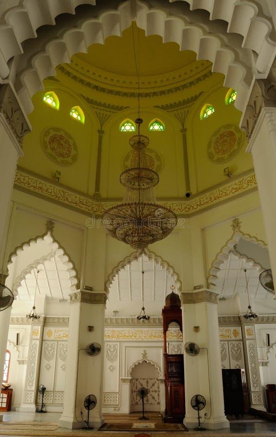 À l'intérieur de la mosquée de Kapitan Keling à Penang images libres de droits