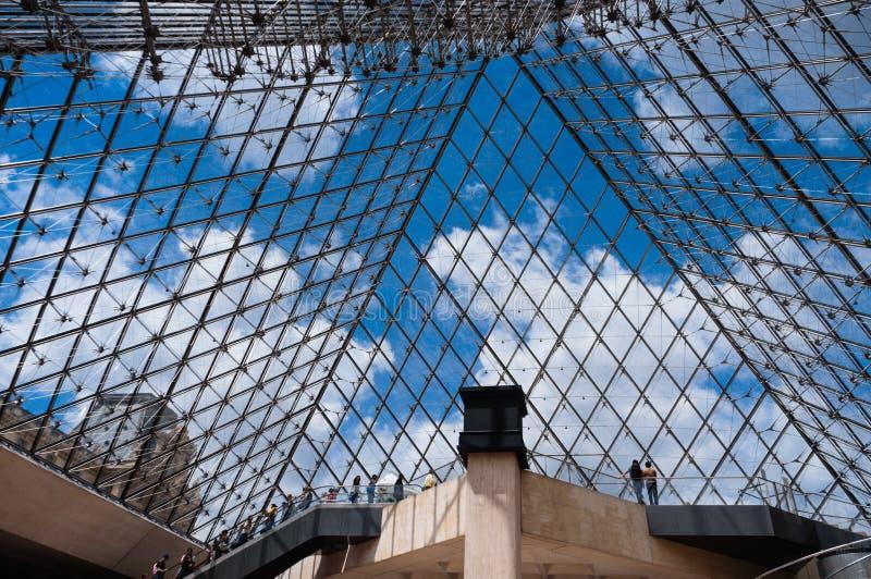 À l'intérieur de la pyramide du musée d'auvent images libres de droits