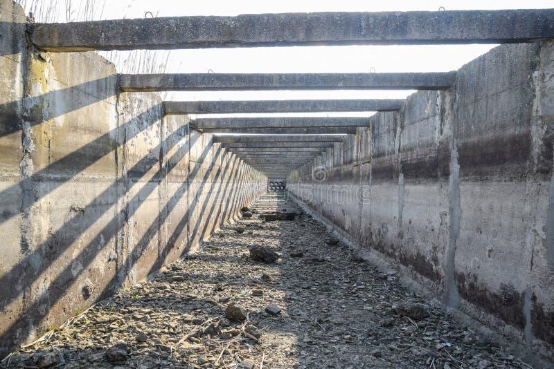 à l'intérieur de la vue du canal concret artificiel d'irrigation photos stock