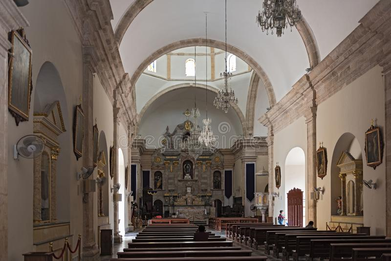 À l'intérieur de notre dame de la conception impeccable, cathédrale dans Campeche, Mexique image stock