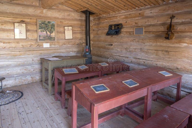 À l'intérieur du bluff reconstitué Utah de centre de visiteur de fort de bluff de pièce d'école image libre de droits