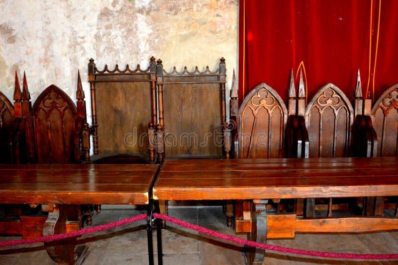 À l'intérieur du château du Corvin dans Hunedoara, la résidence du roi roumain de la Transylvanie, Iancu de Hunedoara photographie stock