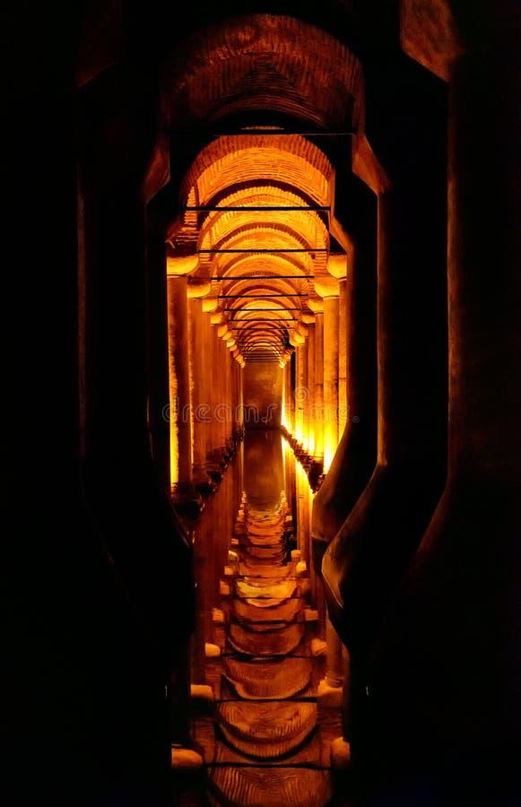 À l'intérieur du réservoir de basilique à Istanbul image libre de droits