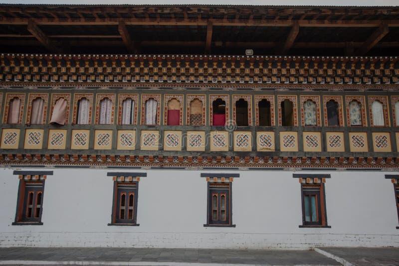 À l'intérieur du Trashi Chhoe Dzong à Thimphou, la capitale du royaume royal du Bhutan photos stock