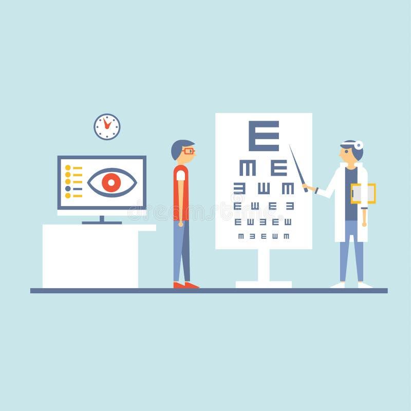 À l'ophtalmologue Vector Illustration dans l'appartement illustration stock