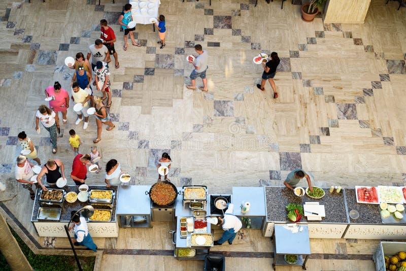 À la carte Menü im Hotel Q Aventura stockfotografie