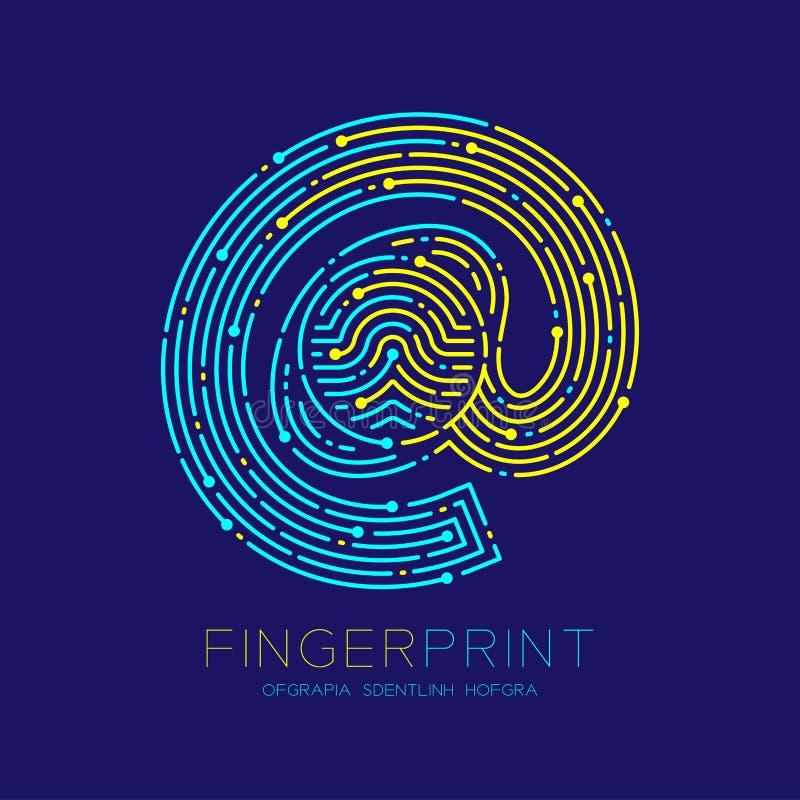 À la ligne de tiret de logo de modèle de balayage d'empreinte digitale d'icône de signe, concept en ligne de technologie numériqu illustration de vecteur
