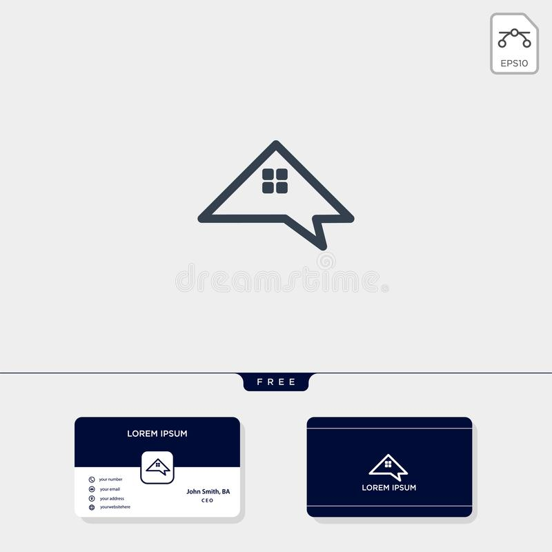 à la maison, forum d'immobiliers, causerie, ou calibre créatif de logo d'entretien pour l'illustration d'entreprise de vecteur, c illustration libre de droits