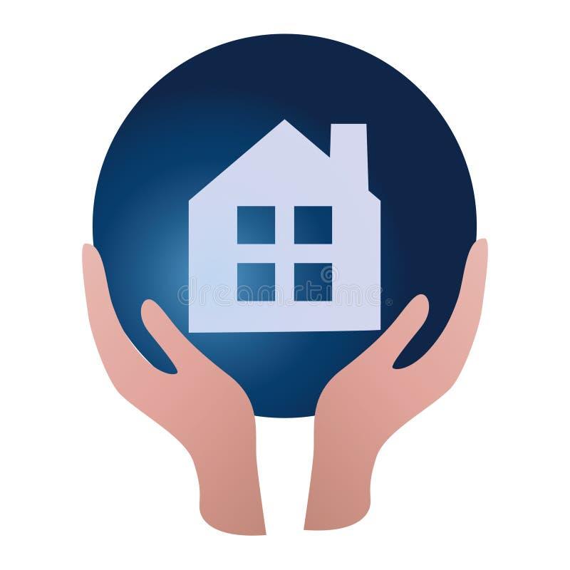 À la maison ou en son appartement, elle est la belle vie ! Concept d'immobiliers de logo illustration libre de droits