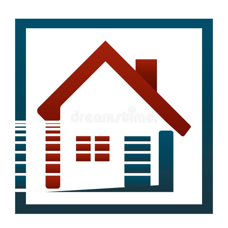 À la maison ou en son appartement, elle est la belle vie ! Concept d'immobiliers de logo photos libres de droits