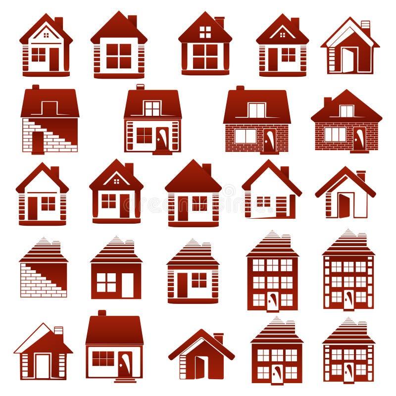 À la maison ou en son appartement, elle est la belle vie ! Concept d'immobiliers de logo images stock