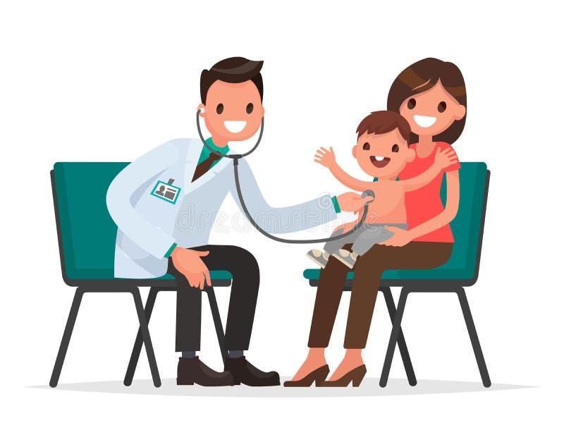 À la réception au pédiatre Le docteur écoute le brea illustration stock