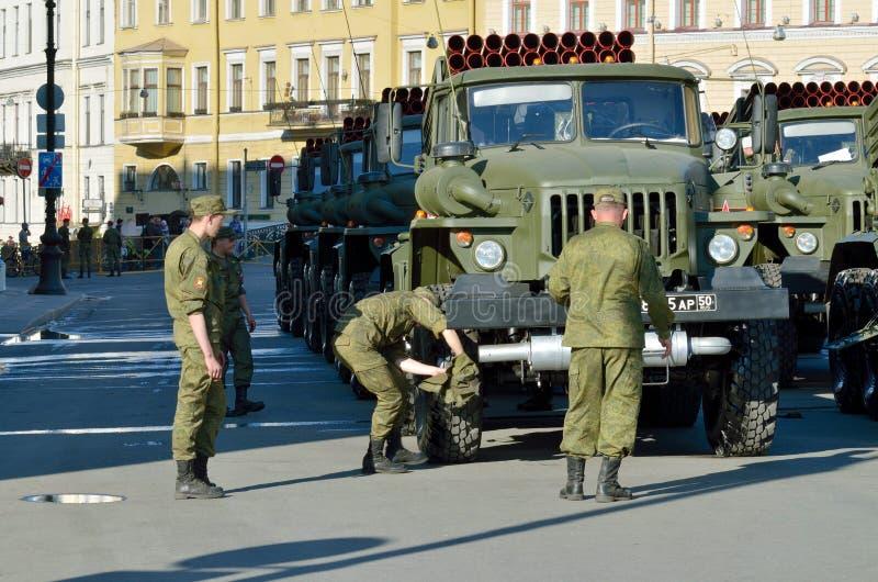 À la veille du défilé à Victory Day photos stock