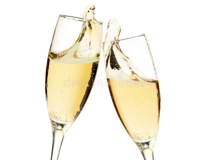 À la votre ! Deux glaces de champagne image stock