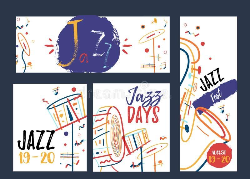 À main levée ensemble de bannière de Jazz Music de schéma Concept créatif de promotion de festival de musique avec les lignes col illustration libre de droits