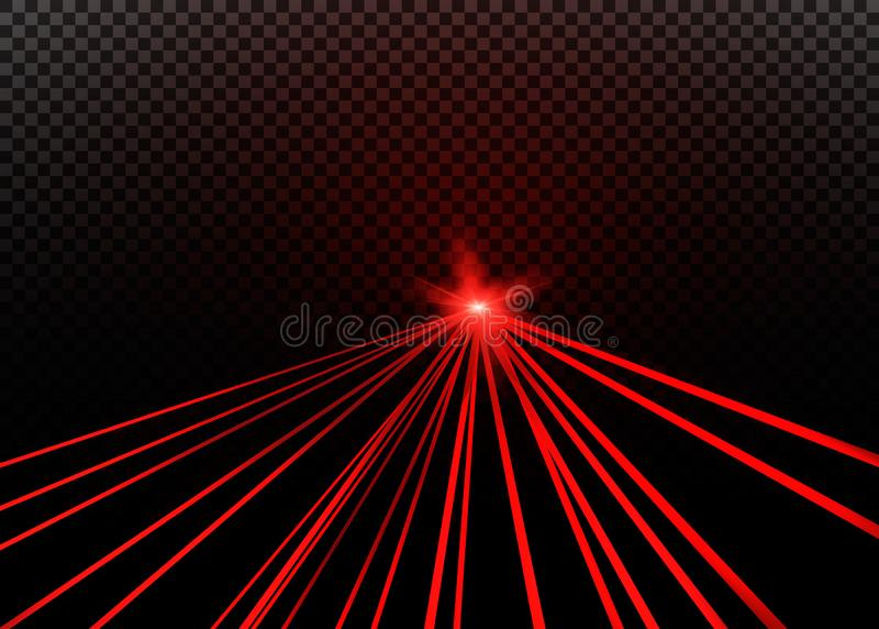 À rayon laser rouge abstrait Transparent d'isolement sur le fond noir illustration de vecteur