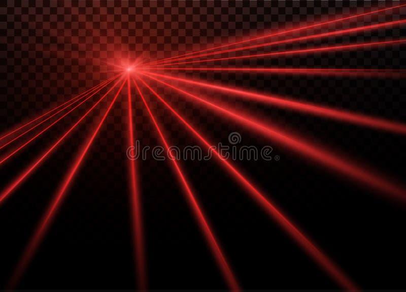 À rayon laser rouge abstrait Transparent d'isolement sur le fond noir Illustration de vecteur l'effet de la lumière projecteur illustration libre de droits