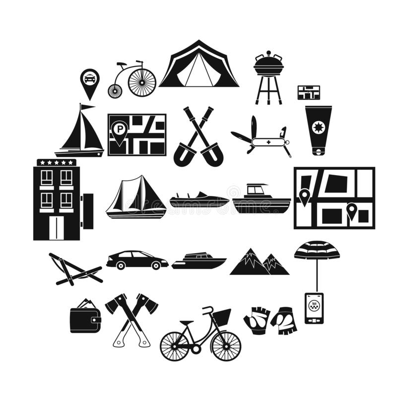 À travers l'ensemble d'icônes de frontière, style simple illustration stock