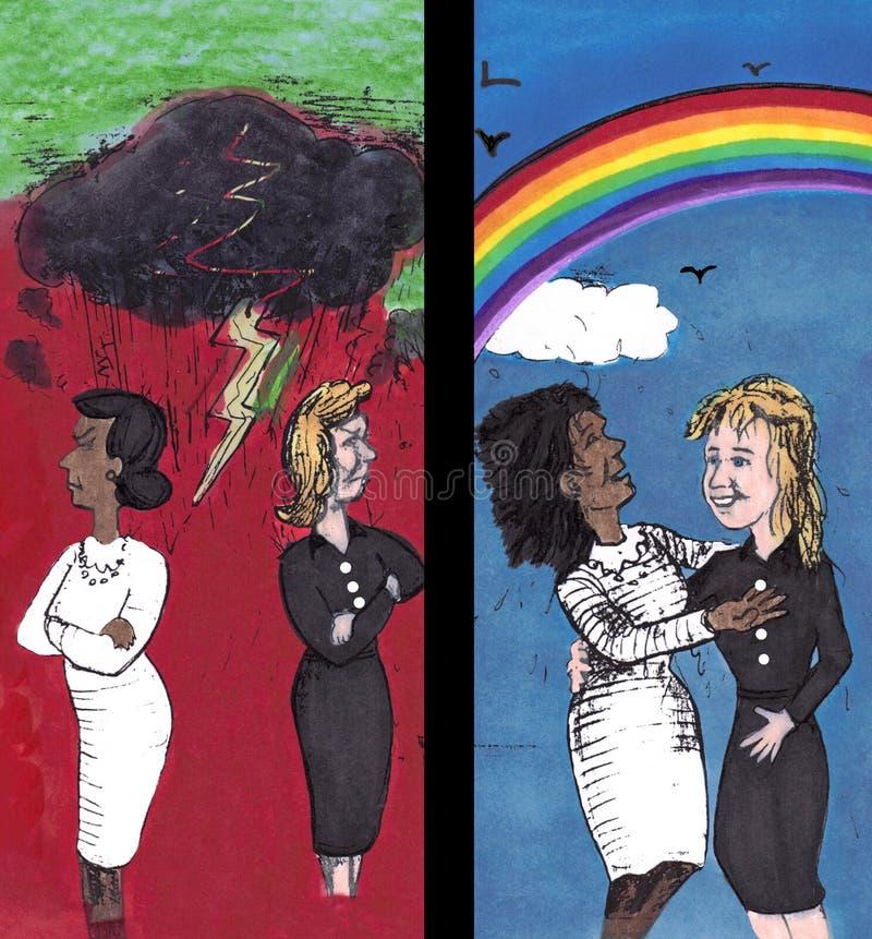À travers la haine, amour actuel illustration de vecteur